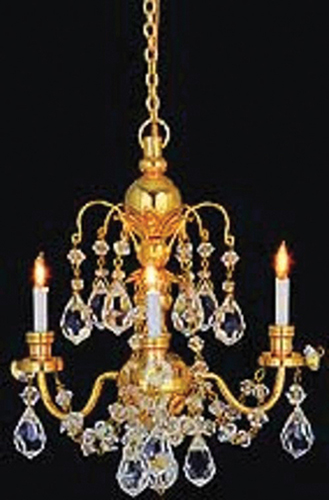 Dollhouse brass 3 arm crystal chandelier hw2817 just miniature scale dollhouse miniature brass 3 arm crystal chandelier aloadofball Image collections