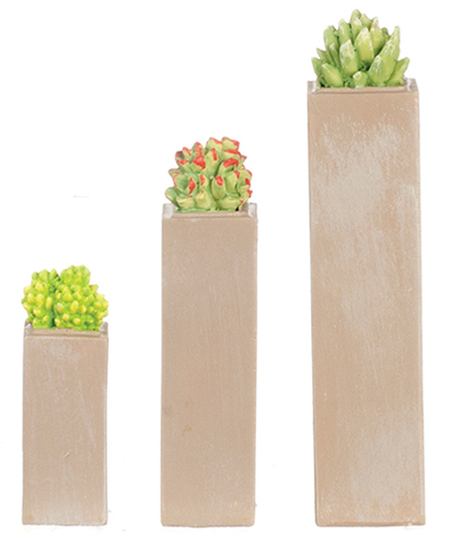 Dollhouse Miniature Resin Tall Square Succulents Set/3Pc