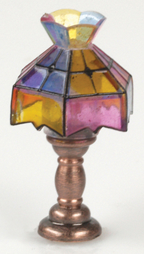 "Dollhouse Miniature 1/2"" Scale: Tiffany Table Lamp W/Crown"