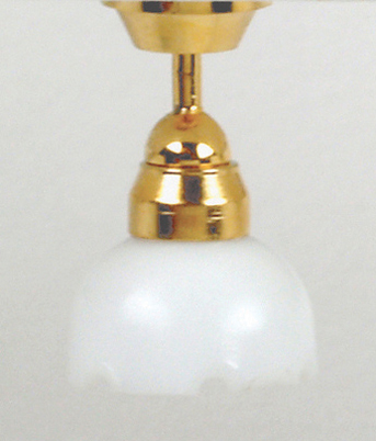 "Dollhouse Miniature 1/2"" Scale: Single Fluted Shade Ceiling Lamp"