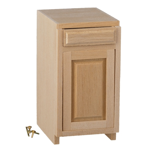 Dollhouse Miniature 1.5 In Base Cab., 1 Drawer/1 Door, Kit