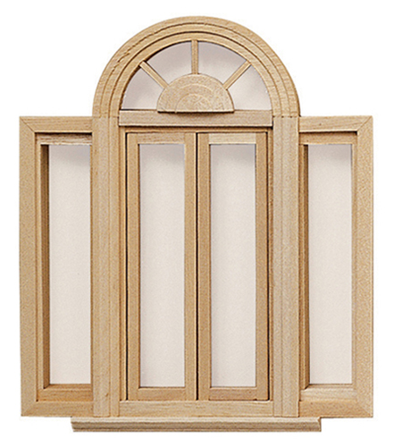 Dollhouse Miniature Circle head Double Casement Window