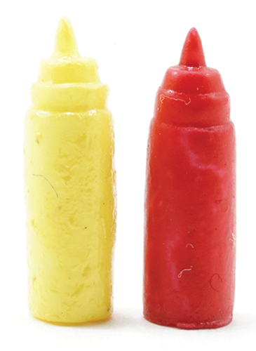 Dollhouse Miniature Ketchup And Mustard Dispenser