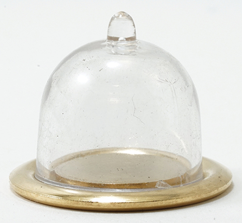 Dollhouse Miniature Gold Tray With Clear Dome