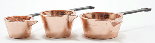 Dollhouse Miniature Copper Pots, 3Pk
