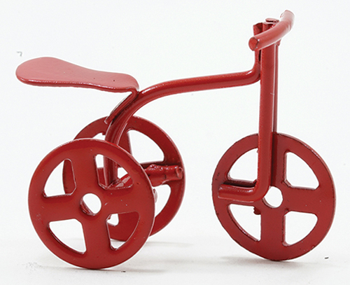 "Dollhouse Miniature Red Tricycle, 1/2"" Scale"