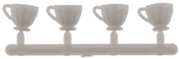Dollhouse Miniature Table Cups, White 4Pk