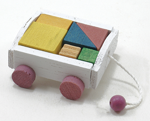 Dollhouse Miniature Wagon W/Blocks