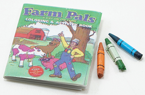 Dollhouse Miniature Coloring Book & Crayons
