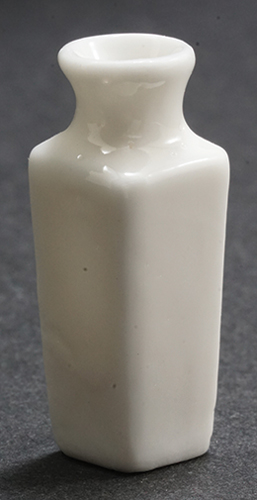 Dollhouse Miniature White Square Vase