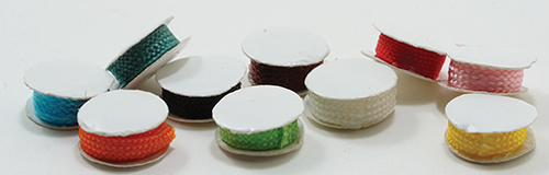 Dollhouse Miniature Spools Of Ribbon, 10Pc