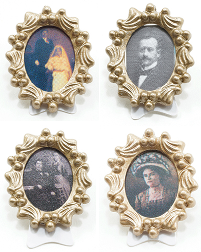 Dollhouse Miniature Decor Oval Picture Frame, Assorted Pic