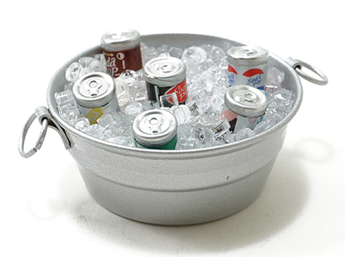 Dollhouse Miniature Tub W/Ice And Canned Drinks
