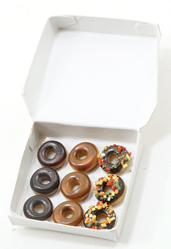 Dollhouse Miniature Donuts In White Box
