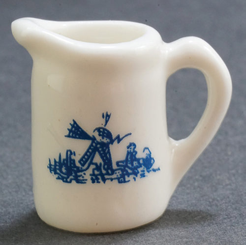Dollhouse Miniature Pitcher White and Blue