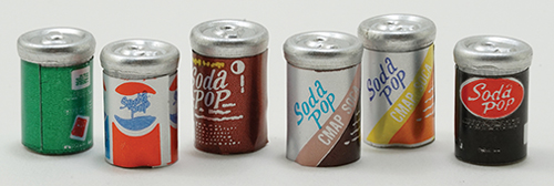 Dollhouse Miniature Pop Cans, Assorted, 6Pk