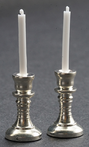 Dollhouse Miniature Candlesticks, Silver, 2/Pc