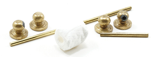 Dollhouse Miniature Gold Towel Bar & Toilet Paper Holder, 7/Pc