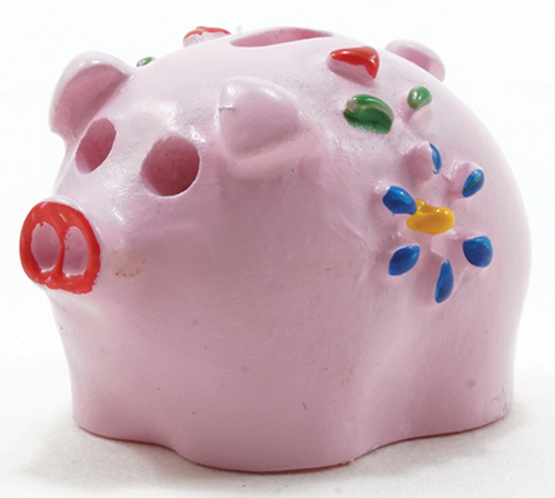Dollhouse Miniature Piggy Bank, Assorted Pink, Blue, Or Yellow