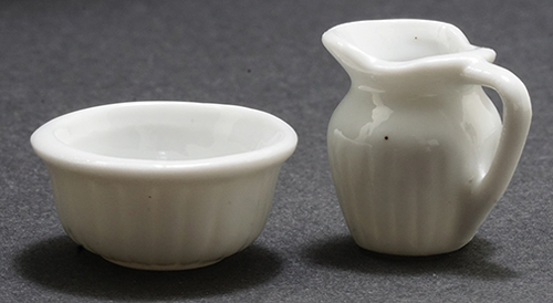 Dollhouse Miniature Pitcher & Bowl