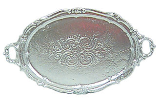 Dollhouse Miniature Oval Silver Tray