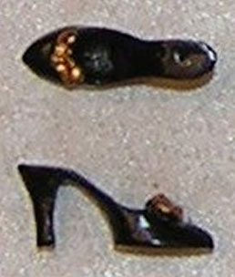Dollhouse Miniature Shoes, Woman's W/Bow, Black & Gold Color