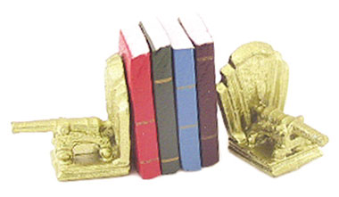 Dollhouse Miniature Cannon Bookends W/Books