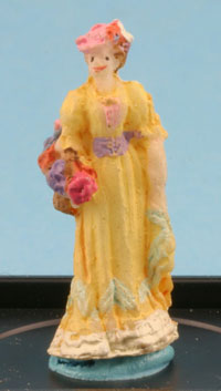 Dollhouse Miniature Victorian Lady Figure (Yellow)