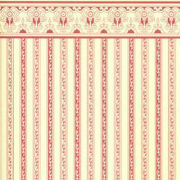 Dollhouse Miniature Wallpaper: Regency, Burgundy Stripe
