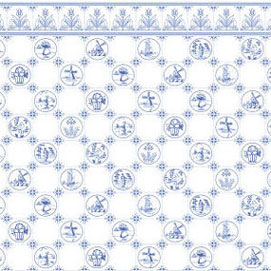 Dollhouse Miniature Wallpaper: Dutch Tile, Blue On White