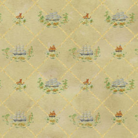 Dollhouse Miniature Wallpaper: Colonial Clippers