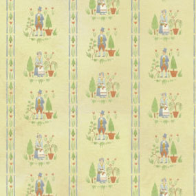 Dollhouse Miniature Wallpaper: Colonial Gardens