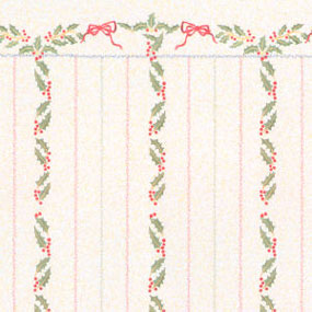 Dollhouse Miniature Wallpaper: Christmas Stripes