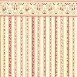 "Dollhouse Miniature Wallpaper:1/2"" Scale Regency Stripe, Burgundy"