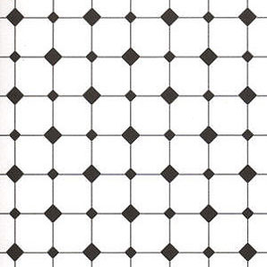 "Dollhouse Miniature Wallpaper:1/2"" Scale Diamond Tiles, Black & White"