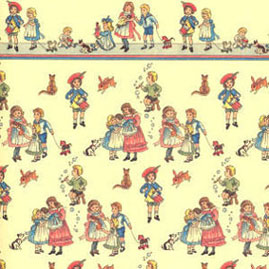 "Dollhouse Miniature Wallpaper:1/2"" Scale Children On Dark Cream"