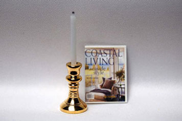 Dollhouse Miniature Brass Candlestick W/Candle