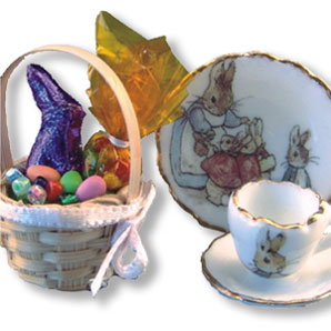 Dollhouse Miniature Reutter's Porcelain Fine Dollhouse Miniature Easter Basket Set