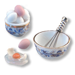 Dollhouse Miniature Reutter's Porcelain Fine Dollhouse Miniature Fresh Egg Set