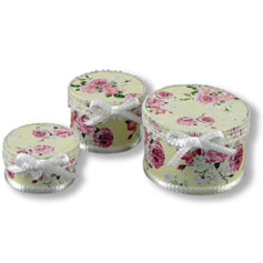 Dollhouse Miniature Reutter's Porcelain Fine Dollhouse Miniature Ladies' Hat Box Set