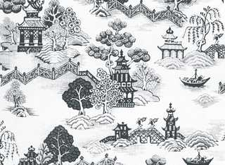 Dollhouse Miniature Wallpaper, China Grove Black