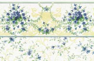 Dollhouse Miniature Wallpaper, Sonata (Blue)