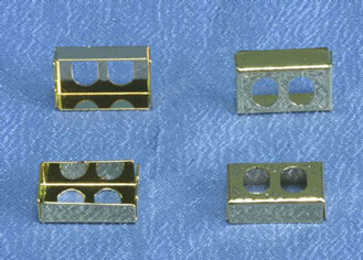 Dollhouse Miniature Brass Petite Wall Outlet Cover Plates, 4Pk