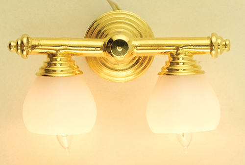 Dollhouse Miniature Brass Double Wall Lamp with White Shade 12V