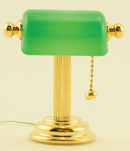 Dollhouse Miniature Reading Lamp with Green Shade
