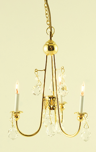 Dollhouse Miniature Crystal Chandelier, Gold