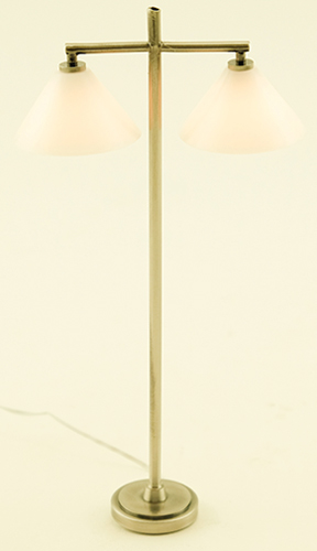 Dollhouse Miniature Modern Floor Lamp with 2 Down Shade, Pewter