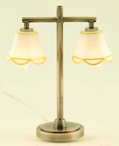 Dollhouse Miniature Modern Table Lamp with 2 Tulip Shade, Pewter
