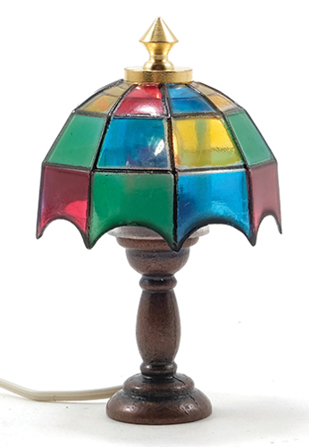Dollhouse Miniature  Tiffany Table Lamp, Colored