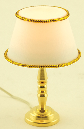 Dollhouse Miniature Table Lamp, Gold Base